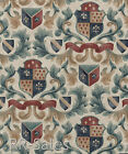 Medieval Emblem Shield Ancient Scroll Leaf Burgundy Cream Double Roll Wallpaper