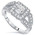 Vintage Princess Cut Halo Diamond 1 1/5ct Engagement Ring White Gold Antique