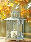 BULK LOTS Iron and Glass Silver Scrollwork Pillar Candle Lanterns