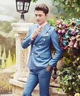Men's host dress formal suits double breasted slim fit wedding groom coat pants