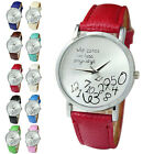 WOMEN'S MEN'S UNISEX FAUX LEATHER APPEALING LETTERS ANALOG QUARTZ WRIST WATCH