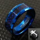 8mm Blue Tungsten Black Celtic Dragon Stripe Band Ring Men's Jewelry