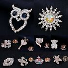 Charm Crystal Lapel Tie Tack Pins Collar Golden Brooch Pin Wedding Party Jewelry