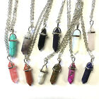 Gemstone Pendant Necklace Natural Quartz Crystal Point Chakra Healing Stone