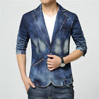 Casual Men'Blazer Coat Denim Suits Jacket Long Sleeve One Button Fashion Tops