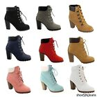 black lace heel - New Women Fashion Padded Collar Ankle Work Booties Lace Up Chunky Heel Shoes