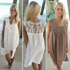 New Women's Summer Cotton Lace V-Neck Sleeveless Dress Loose Casual Hollow Lady