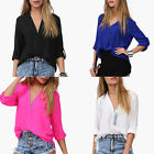 Sexy Women Loose Chiffon V-Neck Tops Long Sleeve Shirt Casual Blouse Pop