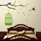 Branch With Birdcage and Birds - Wall Decal Art Sticker kitchen lounge hallway