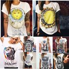 Fashion Boho Women Casual Summer Short Sleeve Cartoon Cotton T-Shirt Blouse Tops
