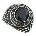 Sheriff Department Black Stone Silver Stainless Steel Mens Ring