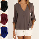 Sexy Women Summer Chiffon Casual Tops Long Sleeve Tee T Shirt Loose Blouse Hot