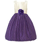 Mia Juliana Little Girls Purple Ivory Polka Dot Flower Christmas Dress 4-6X