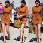 Women's Faux Suede Bodycon party Dress 2016 New Ladies Fall Long Sleeve Casual