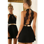 New backless sexy dress white and black lace sleeveless dresses slim mini Dress