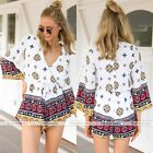 Women Deep V-Neck Floral Shine Print Playsuit Rompers Jumpsuits Trousers Casual