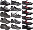 KIDS BOYS GIRLS VELCRO STRAP SLIP ON LEATHER CASUAL BLACK BACK SCHOOL SHOES SIZE
