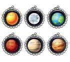 Solar System Flattened Bottle Cap Jewelry DIY Crafts Necklace Zipper Pull Charm