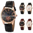 New Classic Mens Leather Stainless Steel Date Rose Gold Quartz Sport Wrist Watch
