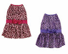 Vibrant leopard sleeveless w satin bow trim Dress Pet clothing ALL sz / 2 colors