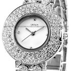 WEIQIN Luxury Crystal Lady Women Dress Stainless Steel Bracelet Quartz Watch