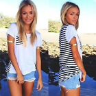 New Summer Women Sexy Back Stripe Short Sleeve Blouse Casual Shirt Fashion TB