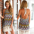 Fashion Women Ladies Dress Printed Halter Diamond Tassel Sexy Halter Dress JYL