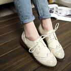 British Girl Retro College Womens Oxford Brogues Lace Up Low Heels Wingtip Shoes
