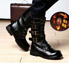 Military Cowboy Boots Men's High Boots Lace Up Buckle Mid Calf Motorcycle Boots
