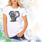Ladies T-shirt Kitten's Moon Garden Watercolor Cat Art Sizes XS-2X