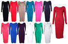 NEW PLUS SIZE SCOOP NECK LONG SLEEVE JERSEY  MIDI DRESS 16-22