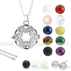 Natural Gems Locket Hollow Flower Aromatherapy Cage Pendant Fit Chain Necklace