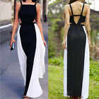 1Pc Black White Stitching Color Long Dress Women Sleeveless Backless Dress