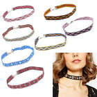 Nation Style Collar Necklaces Boho Flower Choker Wide Band Ethnic Bib Embroidery