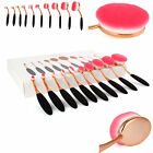 Professional 10Pcs Oval Cream Gold Pink Makeup Brushes Set & Kabuki Toothbrush
