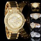 Crystal Lady Women Analog Bracelet Gold Silver Band Quartz Wrist Watch Gift N4U8