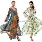 Hot Lady Women ACEVOG Long Sleeve V-Neck  Loose Chiffon Floral Maxi Dress N4U8
