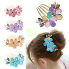 Charm Fashion Women Lady Girl Flower Alloy Rhinestone Barrette Hair Clip Comb