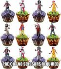 PRE-CUT Halloween Evil Scary Clowns - Edible Cupcake Toppers Party Decorations