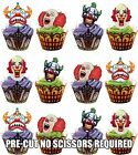 PRE-CUT Scary Clown Face Edible Cupcake Toppers Decorations Halloween Party