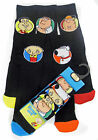 Men's Family Guy 5 pack socks Shoe 6-8 and 9-12 Black with Coloured Toe