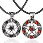 Retro Men's Pentagram Pentacle Star Round crystal Pendant Leather Cord Necklace