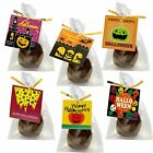 Halloween Gift Tags with Flat Cellophane Bags and Golden Twist Ties, Set of 95