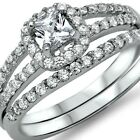 Sterling Silver Wedding set size 7 CZ Princess cut Engagement Ring Bridal New z3