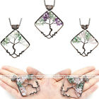 Natural Color Crystal Gems Bronze Wire Tree of Life Rhombus Pendant For Necklace