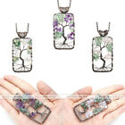 Natural Color Gemstones Bronze Wire Tree of Life Rectangle Pendant For Necklace