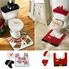 Christmas Festival Lovely Cover Rug Bathroom Sets Santa Toilet Seat Decoration