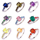 Blue Red Pink Purple MultiColor Olive Champagne White Topaz Silver Ring Sz 6-13 image