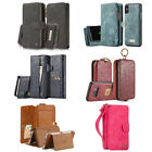 Luxury Leather Cover Zipper Magnetic Wallet Card Case Multifunction Removable