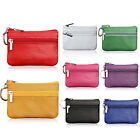 Unisex Card Coin Key Holder Zip Genuine Leather Wallet Small Pouch Bag Purse